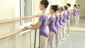一点紫色紧身连衣裤的芭蕾舞女演员训练在纬向条花的 股票视频