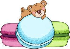 一点说谎在macarons的玩具熊 向量例证