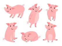 一点贪心字符 在圣诞节传染媒介例证的白色,逗人喜爱的小猪隔绝的动画片滑稽的桃红色猪男孩 皇族释放例证