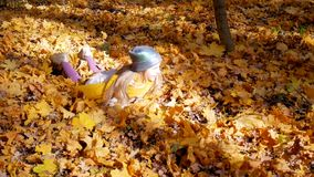 一点跳进叶子的逗人喜爱的女孩在公园秋天和树 股票视频