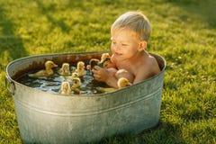 一点逗人喜爱的男孩戏剧用鸭子在手上在明亮的后面 免版税图库摄影