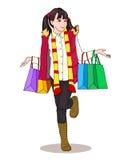 一点fashionista购物 女孩拿着从商店的包裹 免版税库存图片