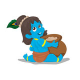 一点Krishna 在白色背景的动画片例证 图库摄影