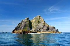 一点Skellig海岛、家许多各种各样的海鸟的和第二大gannets殖民地在世界上,凯里郡,爱尔兰 图库摄影