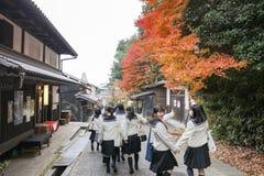 一热观光在英雄传奇toriimoto保存了街道 库存图片