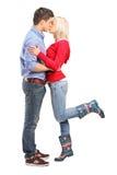 一爱恋夫妇亲吻的视图 免版税库存照片