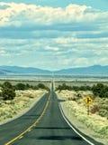 一片非常长的长的直路throug美国人沙漠 免版税库存照片