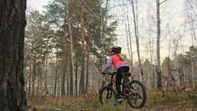 一白种人儿童乘驾在秋天公园骑自行车路 在森林孩子的女孩骑马黑橙色周期去做 股票录像