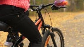 一白种人儿童乘驾在秋天公园骑自行车路 在森林孩子的女孩骑马黑橙色周期去做 股票视频