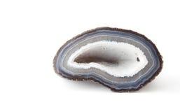 一白色和蓝色geode的部分 库存照片