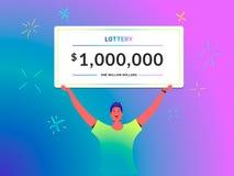 一百万美元钞票概念年轻人举行的传染媒介例证在他的顶头大抽奖证明的作为优胜者 向量例证
