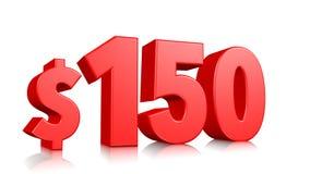 150$一百五十价格标志 红色文本3d回报与在白色背景的美元的符号 库存例证