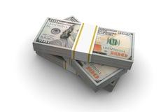 一百元钞票堆 免版税库存照片