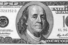 一百元钞票片段 库存图片
