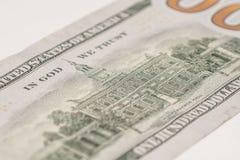 一百元钞票,宏观摄影 免版税库存照片