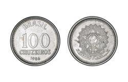 一百克鲁赛罗铸造,年1986年-从巴西的老硬币 免版税库存照片