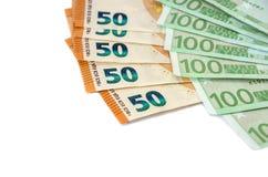一百和五十欧元钞票在白色背景的 库存照片