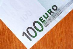 一百张欧洲货币钞票,特写镜头 免版税库存照片
