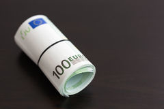 一百张欧洲票据卷  库存图片