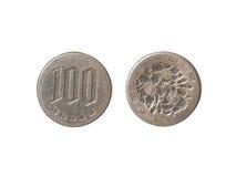 一百枚日元硬币关闭  库存图片
