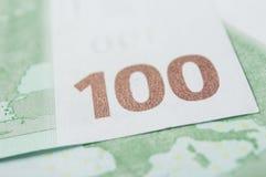 一百欧元金钱钞票  库存照片