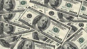 一百美元钞票堆和画象美国金钱钞票的本杰明・富兰克林 免版税库存图片
