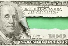 一百被撕毁的美元 免版税图库摄影