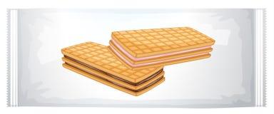 一盒奶油色饼干 免版税库存照片