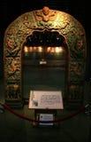 一石曲拱古色古香特色的装饰雕刻在南京博物院的显示 免版税库存图片