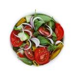 一碗从蕃茄、菠菜和各种各样的新鲜蔬菜的莴苣 奶油被装载的饼干 顶面veiw 库存图片