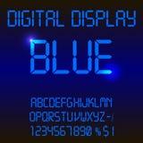 一种五颜六色的蓝色数字式被带领的字体的例证 图库摄影