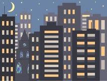 一种好的城市夜都市风景在晚上或在晚上:现代房子、大厦和一个教会或者大教堂有马赛克的Windows 皇族释放例证
