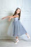 一种嬉戏的心情的一位小可爱的年轻芭蕾舞女演员在相互 免版税库存照片
