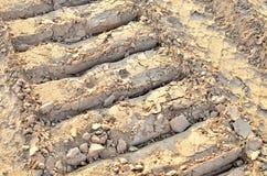 一种履带牵引装置挖掘机的脚印在沙子的 免版税库存照片