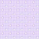紫色方格花布织品有鸭子背景 库存图片