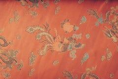 一种红色柔滑的中国织品(被过滤的图象processe的特写镜头 库存图片