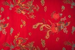 一种红色柔滑的中国织品(被过滤的图象processe的特写镜头 免版税库存照片