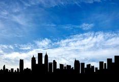 一种美好的都市风景的剪影 免版税库存照片