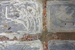 一种老生锈的金属的纹理与老油漆的 库存照片