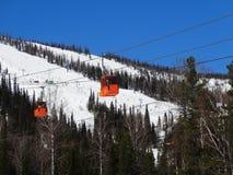 一种高山滑雪手段Sheregesh。 库存照片