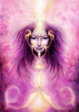 一种violett天使精神的美丽的图画与的woman's 免版税库存图片