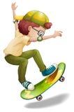 一精力充沛男孩滑冰 库存例证