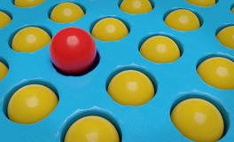 一红色球和许多黄色球3d翻译 免版税库存图片