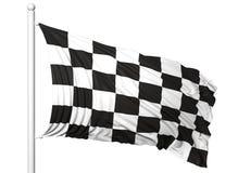 一级方程式赛车挥动的旗子在旗杆的 免版税库存照片