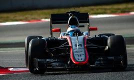 一级方程式赛车测试天-费尔南多・阿隆索 免版税库存照片