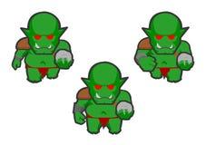一绿色ork的动画框架 库存照片
