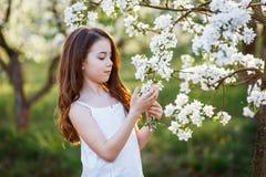 一美丽的少女的画象有蓝眼睛的在白色礼服在有blosoming在日落的苹果树的庭院里 库存照片