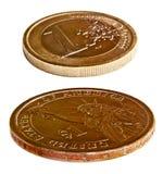 美元和欧洲硬币 免版税库存图片