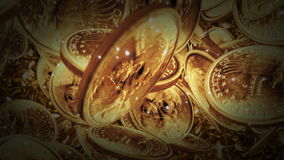 一美元铸造在液体金背景的飞行 皇族释放例证