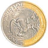 一美元-一枚欧洲硬币 库存图片